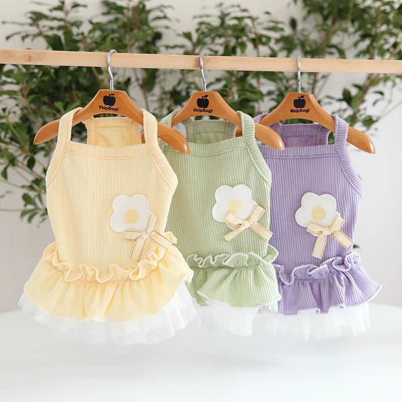 清新小花吊带裙小猫咪连身裙狗狗宠物衣服泰迪博美小狗连衣裙。