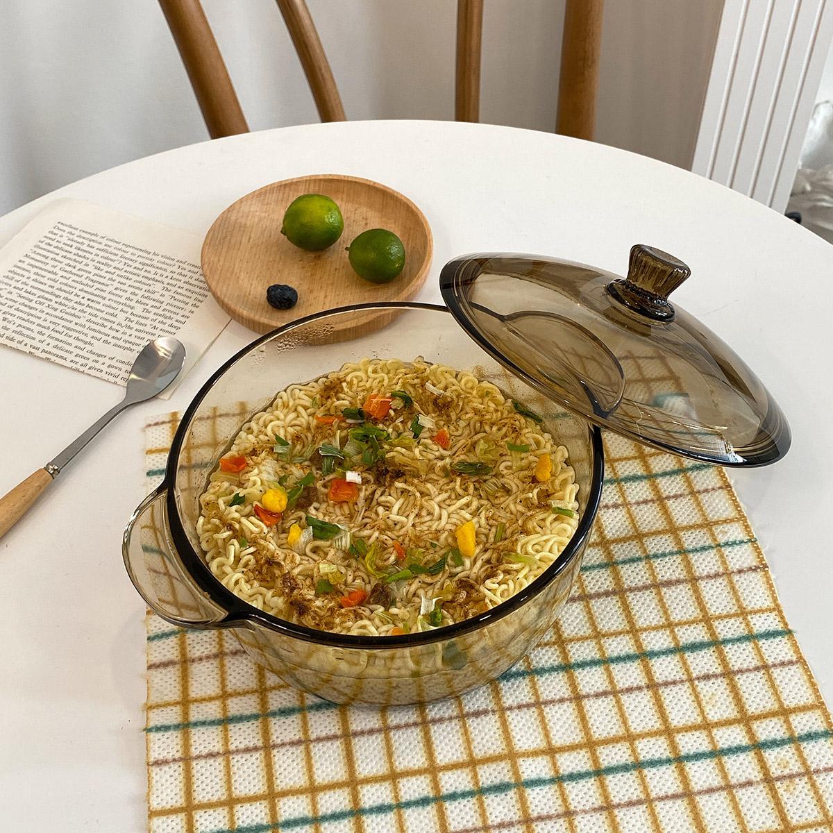 碗韩版ins风玻璃泡面碗带盖双耳汤碗家用大号宿舍用学生面碗神器