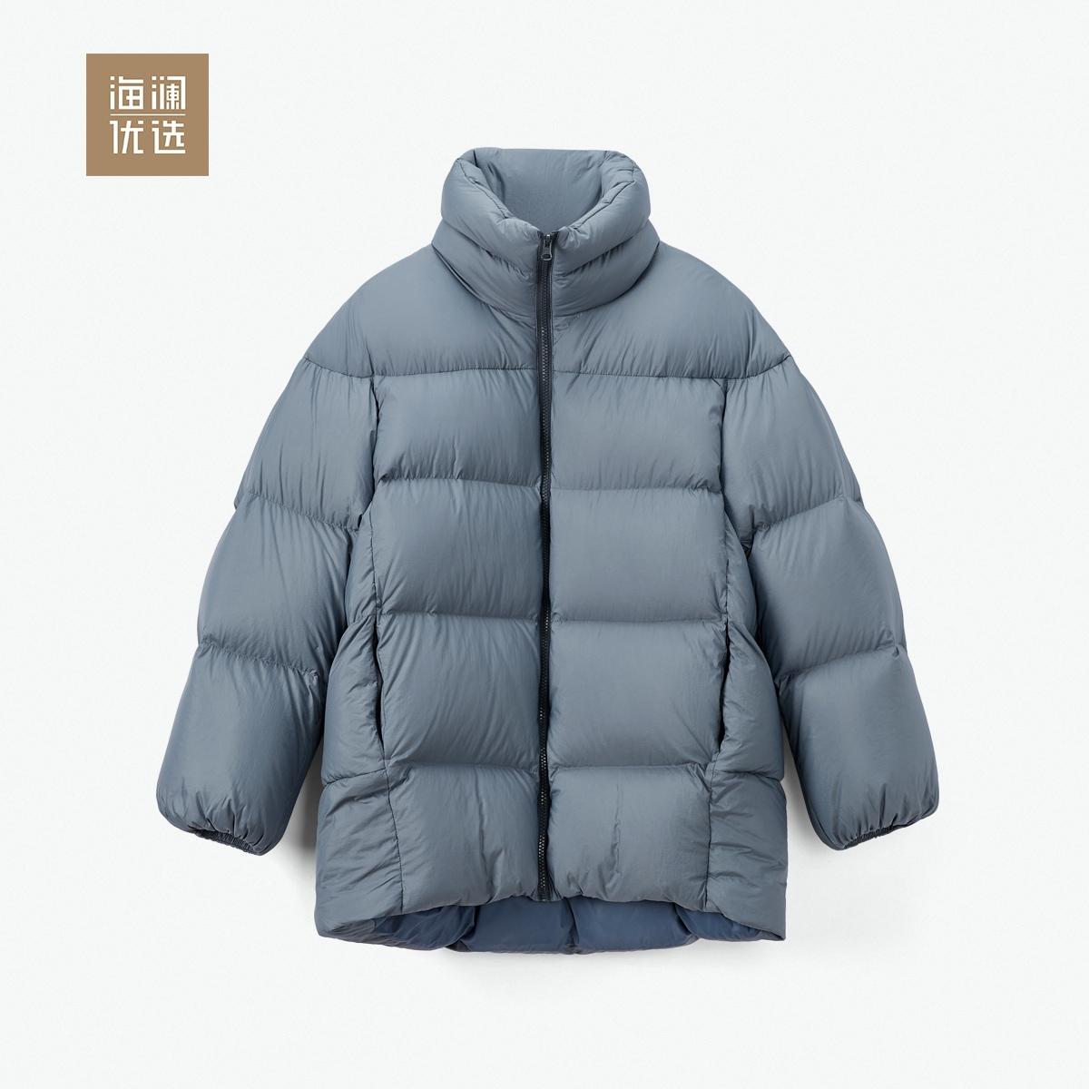 冬季白鹅绒女士立领保暖舒适长款羽绒服海澜优选