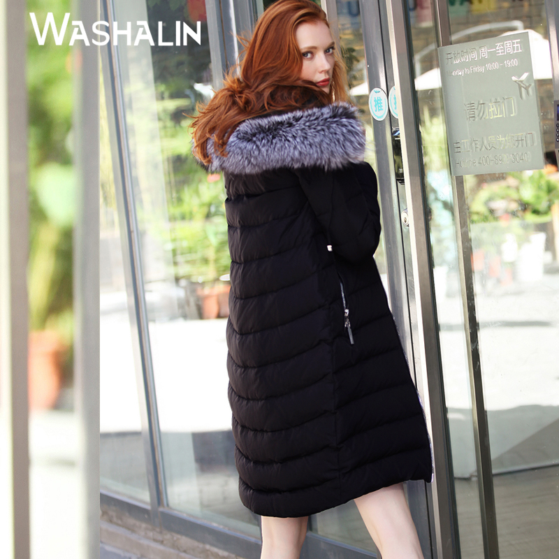 2020 down jacket winter clothes new Korean version large wool collar womens clothes simple long style thickened hood special promotion