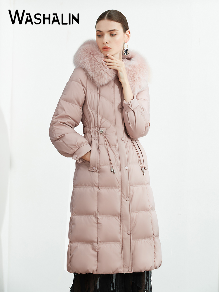 过膝羽绒服中长款2020冬季新款女装爆款收腰时尚冬装外套促销