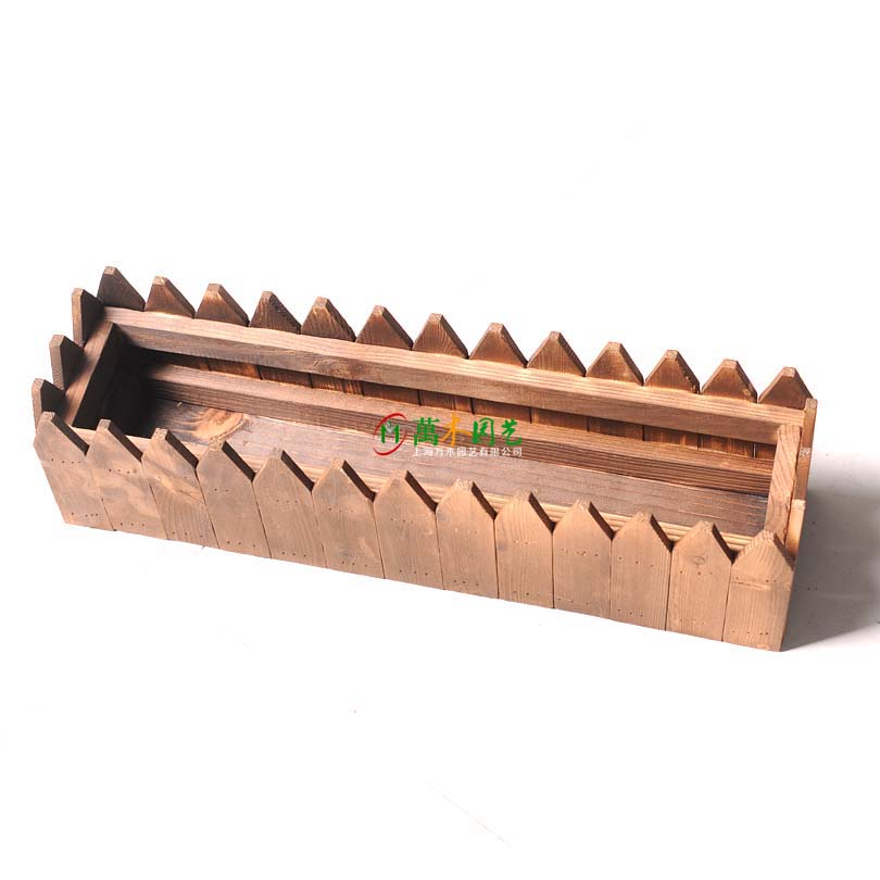 Pointed fence flower pot rectangular wall hanging flower trough carbonized anticorrosive wood flower rack flower box fleshy flower vessel flower arrangement