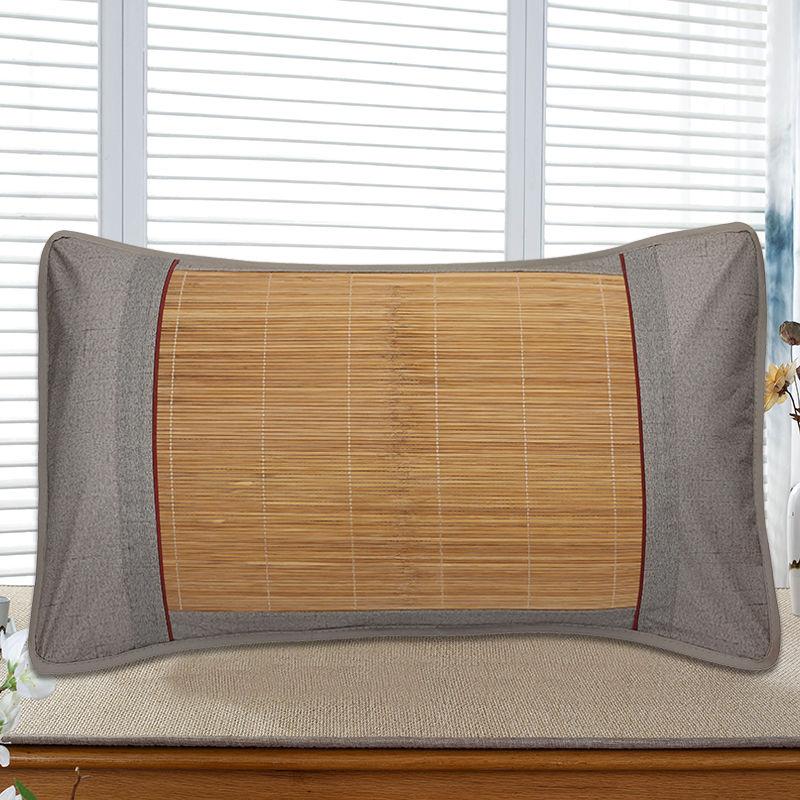夏季冰丝枕套夏天冰藤枕头套成人夏凉单面冰丝竹枕芯套单人一对装