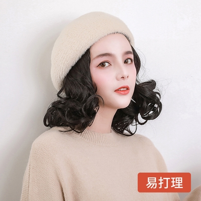 Genuine wig with hat one female short curly hair autumn and winter net red fashion hooded real hair ribbon wig shell