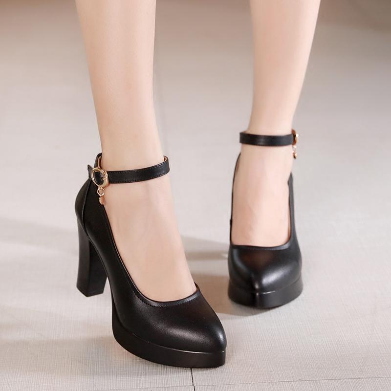 。 2021 large high-heeled shoes womens leather waterproof platform thick heel single shoes work shoes middle heel cheongsam show shoe model