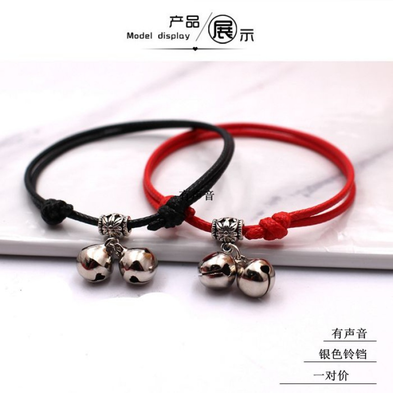 Lovers retro bell Anklet this life year transfer student red rope woven Anklet simple male and female girlfriends foot rope