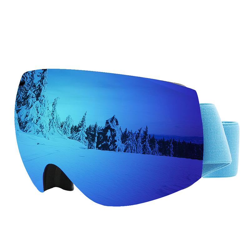 滑雪眼镜摩托车帽挡风镜男双层防雾雪地户外可拆卸磁铁球面护目。