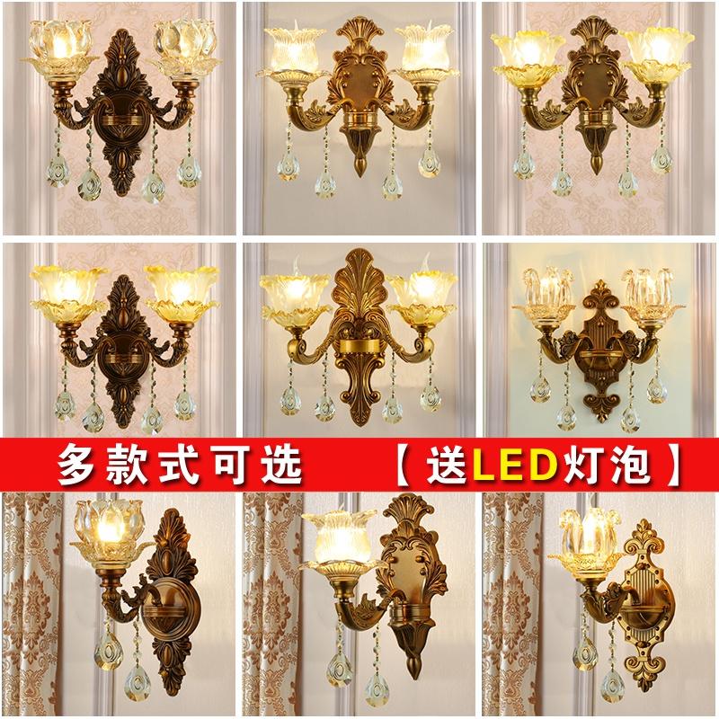 古铜色欧式水晶壁灯客厅电视背景墙壁灯卧室床头壁灯过道锌合金。