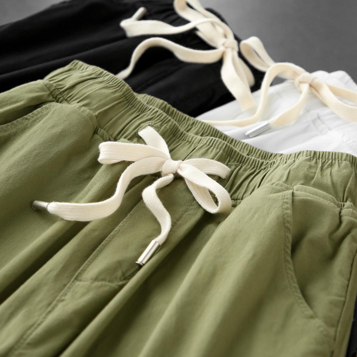 亮色系geong夏天!日式工装风!兼具时尚与实穿高腰锥形休闲裤女夏