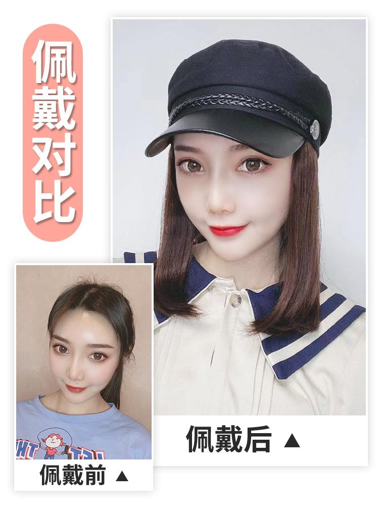Genuine hat with hair, wig in one, womens long hair, net red real hair, full headgear, long straight hair, womens short hair lock