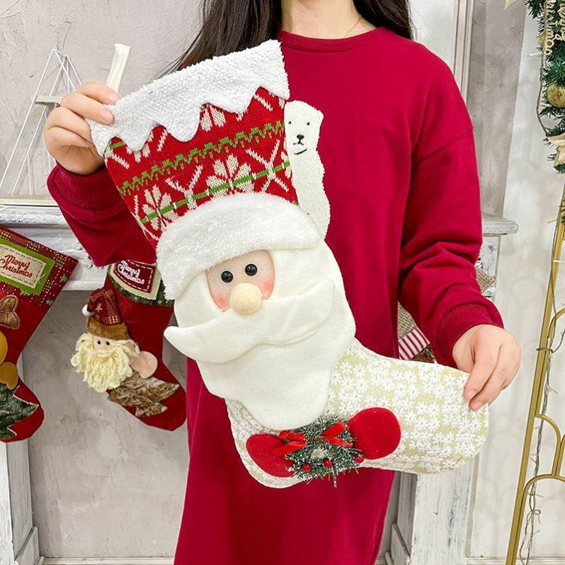 圣诞节袜子礼物袋床头装饰品大号超大礼品袋挂件针织韩版手工卡。