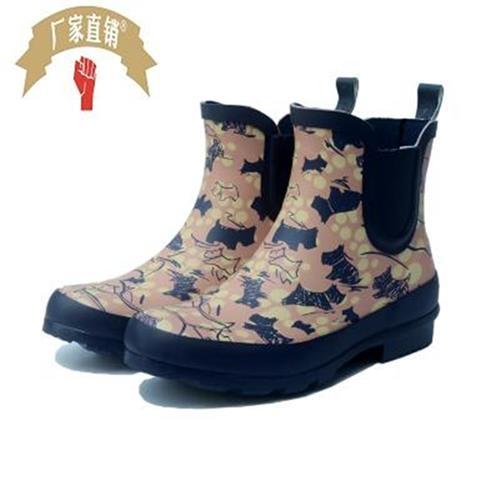Dog pattern rubber rain shoes womens fashion short tube rain boots short top low tube low top anti-x water shoes anti slip rubber shoes