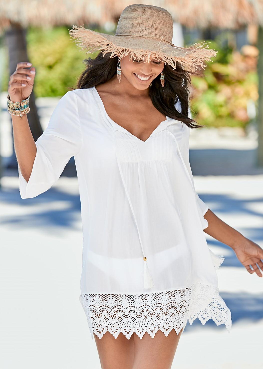フェニックス-女性綿のフリルレースビーチリゾートスカート日焼けビーチコート水着カバー国境を越えます。