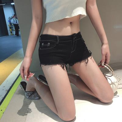 Womens spring and summer clothes with raw edge super shorts sexy DS low waist jeans shorts casual straight pants tight bottomed hot pants underpants