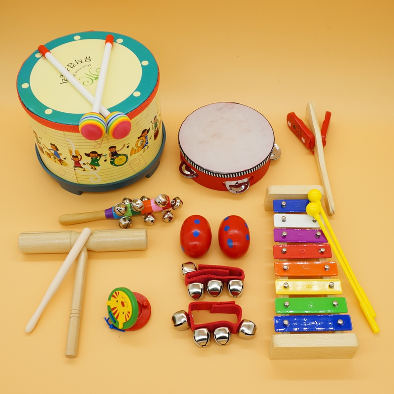Orff musical instrument combination infant childrens percussion instrument sand hammer, hand drum, bell and drum, early childhood music play.