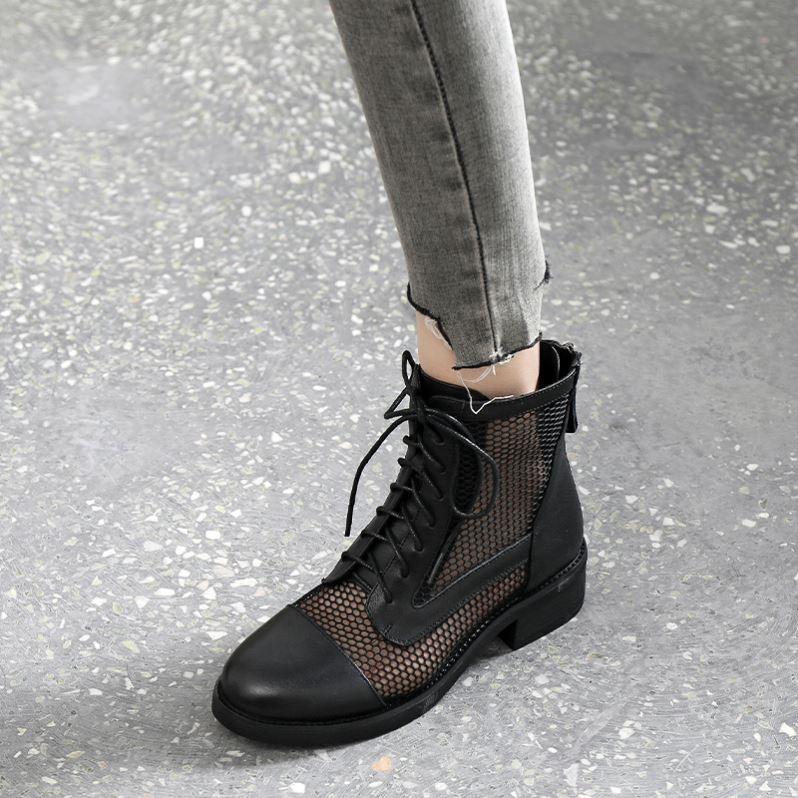 马丁靴夏季薄款女2021新款高帮镂空短靴真皮网靴网纱女鞋春秋凉靴