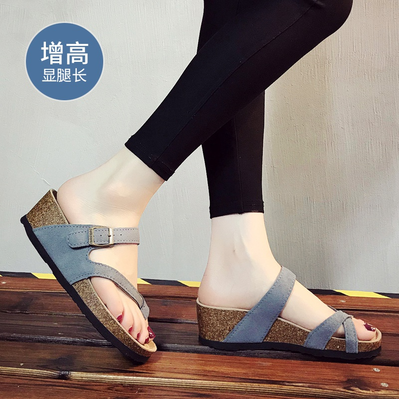 . Slippers womens summer 2021 new slope heel cork slippers sandals thick sole toe cover casual beach shoes women
