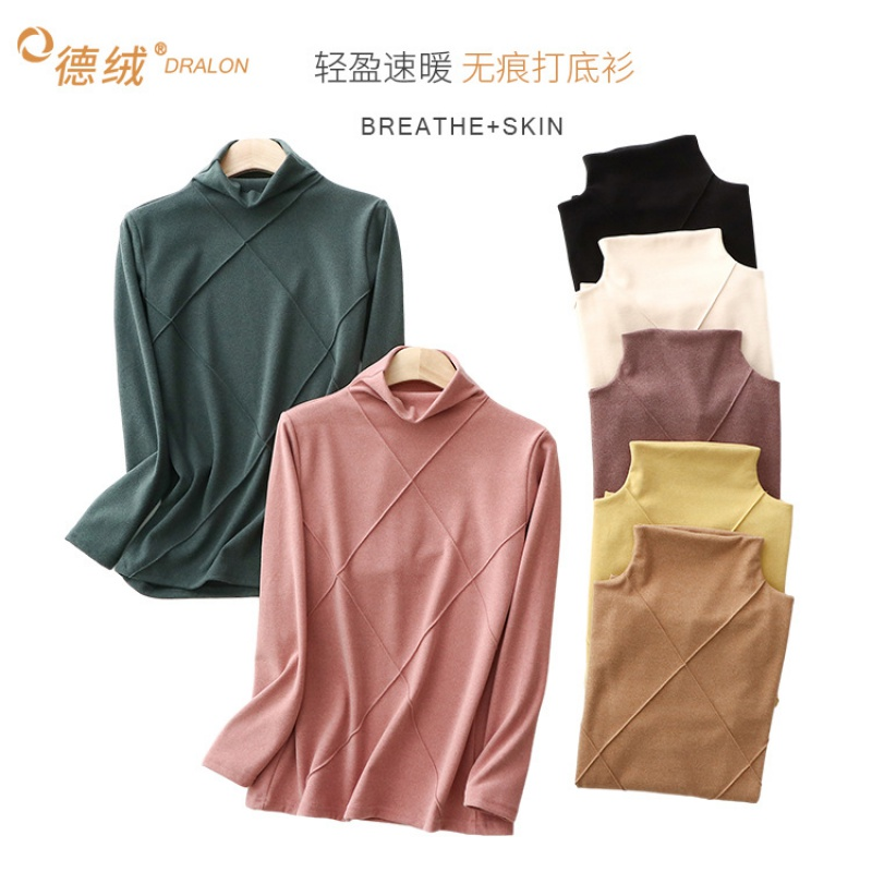Autumn and winter new double faced velvet womens backing shirt cationic solid high collar warm top Plush long sleeve T-shirt