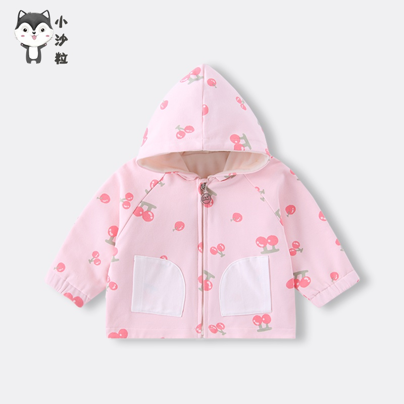 Baby velvet coat spring and autumn boys long sleeve Hooded Jacket windbreaker cotton jacket for going out.