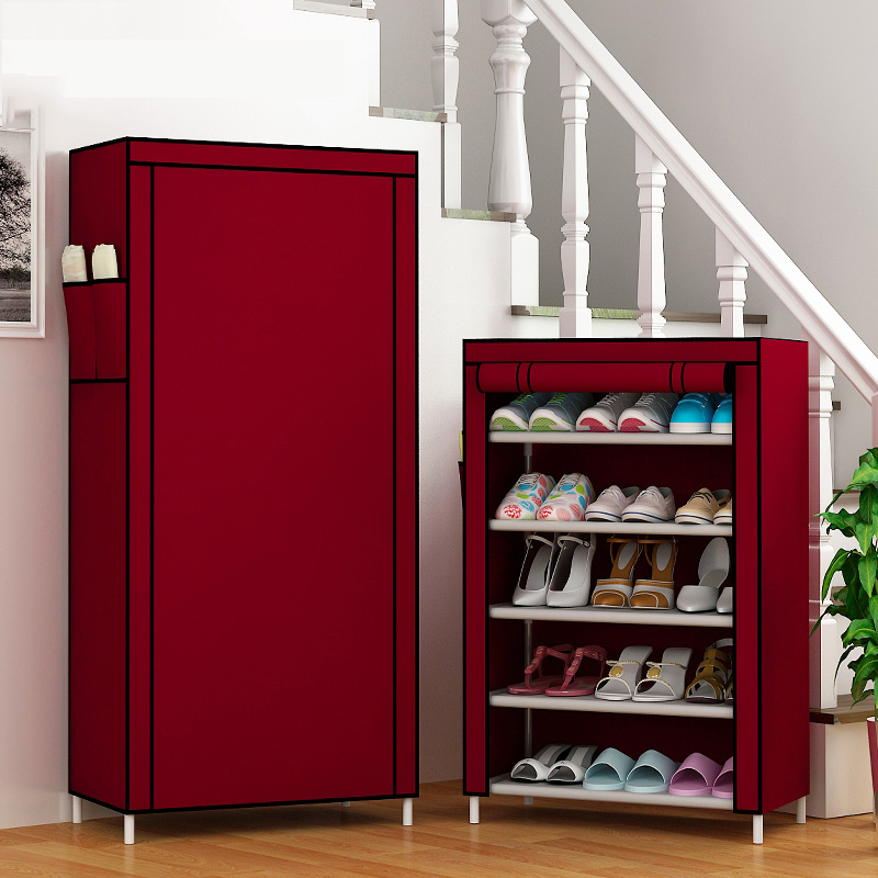 The canvas storage cabinet is a solid storage shoe rack, which is a floor type section of simple cloth shoe cabinet for family dormitory.