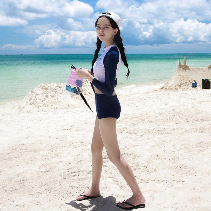 平角裤泳衣ins风保守学生韩国女下水青少年两件式上下女性泳帽。