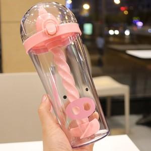 网红搅拌杯大容量塑料X杯子创意学生家用便携喝水杯子带螺旋吸管