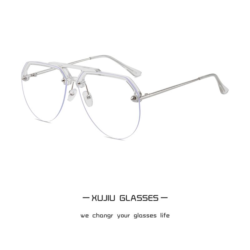 超酷设计感飞行员式大脸眼镜框潮男女透明近视眼睛架复古无框平光