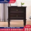 实木床头柜简约储物柜黑色美式儿童柜小型收纳柜窄柜子白色松木