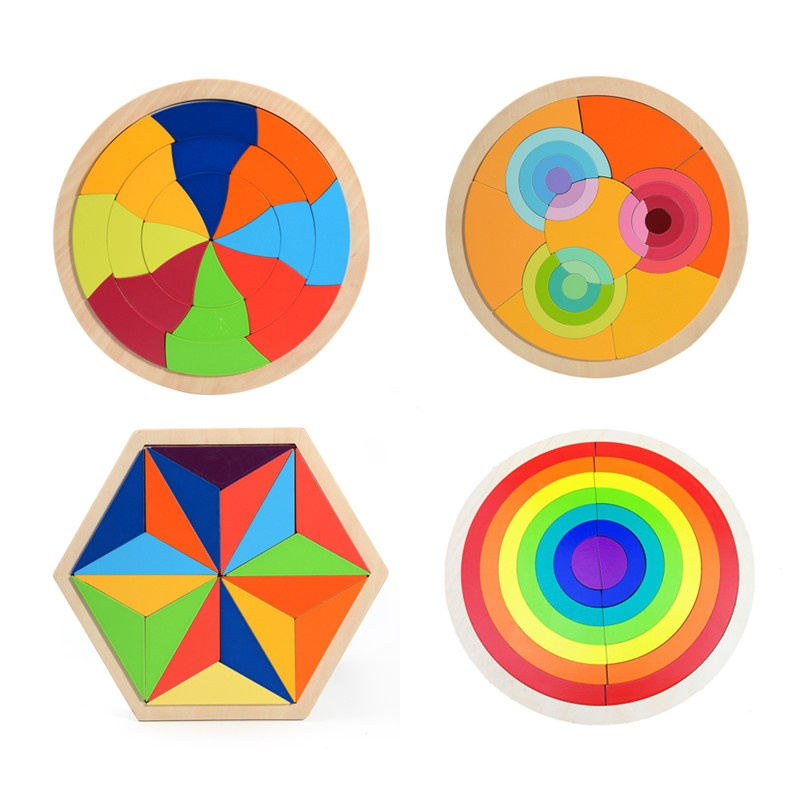 Childrens toys wooden rainbow building blocks childrens early education educational creative toys versatile puzzles early childhood education