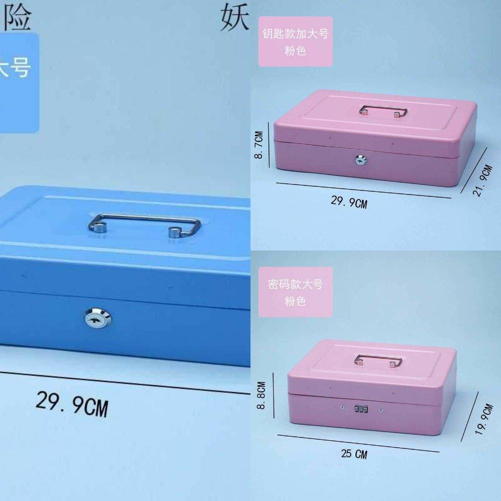 盒大容量盒钥匙小箱子件家用子锁零钱带储物带收纳密码小型铁盒