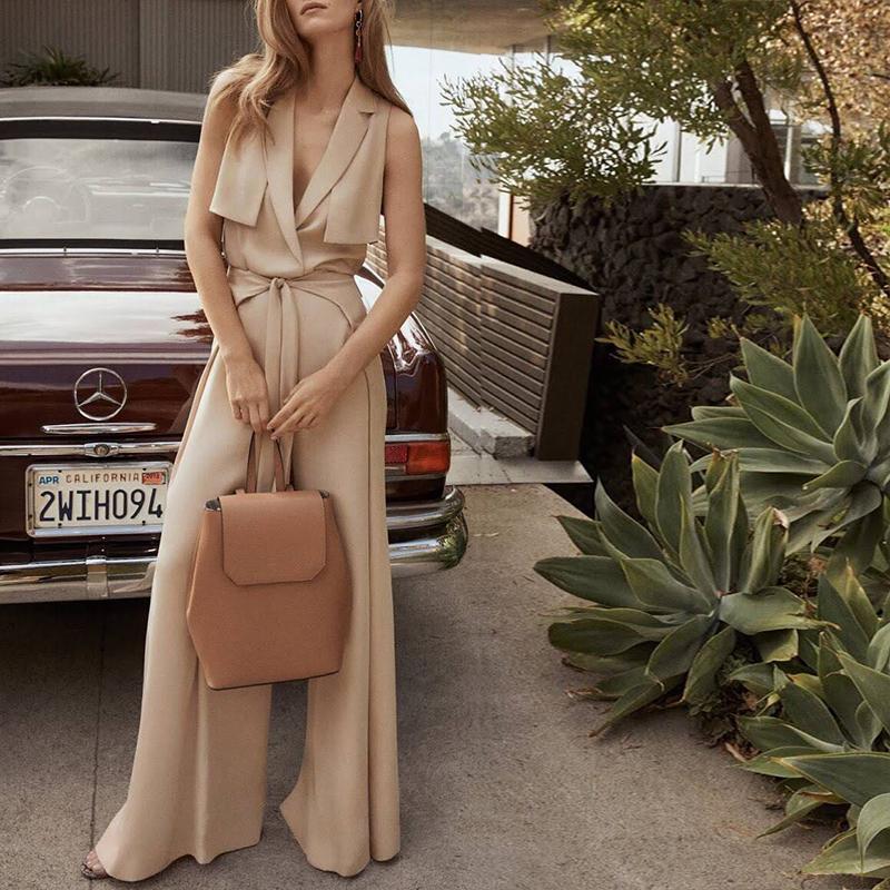 欧美时尚气质女性设计款系带高腰阔腿裤背心连衣裤连体裤女潮