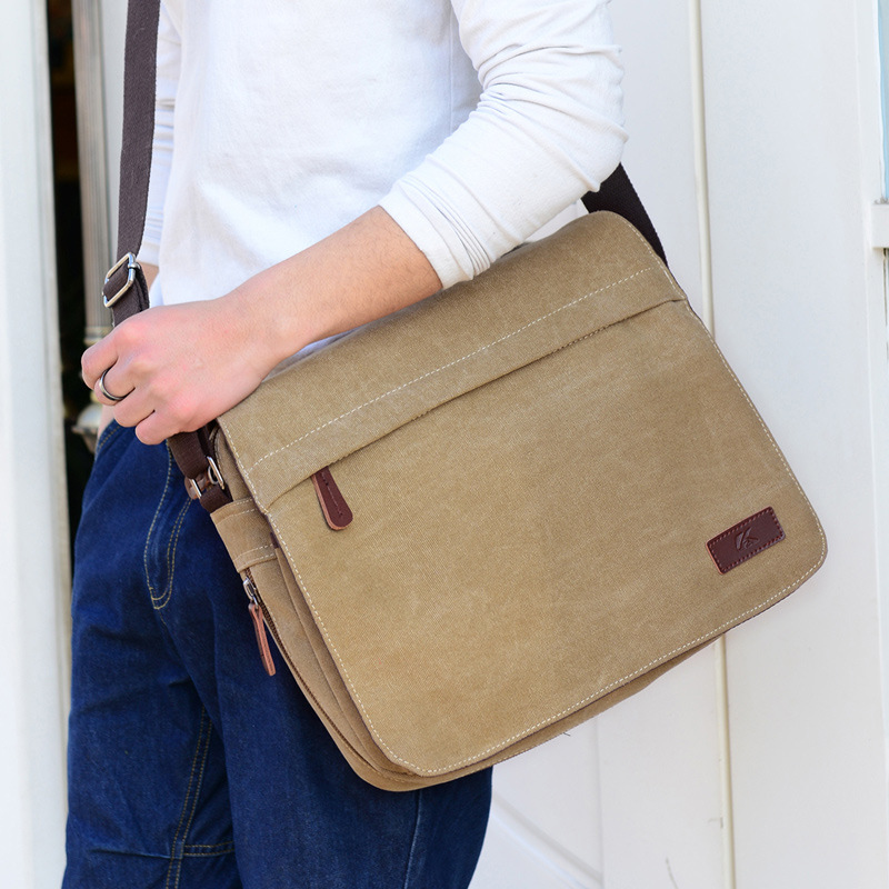 Expandable Shiheng square flap canvas mens single shoulder cross carrying 13 inch computer bag A4 paper tool Backpack