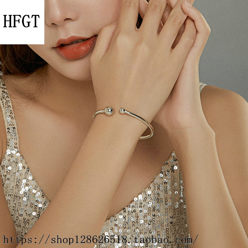 Genuine smooth round head elastic English letter simple detachable button 925 Sterling Silver Bead Beaded basic Bracelet