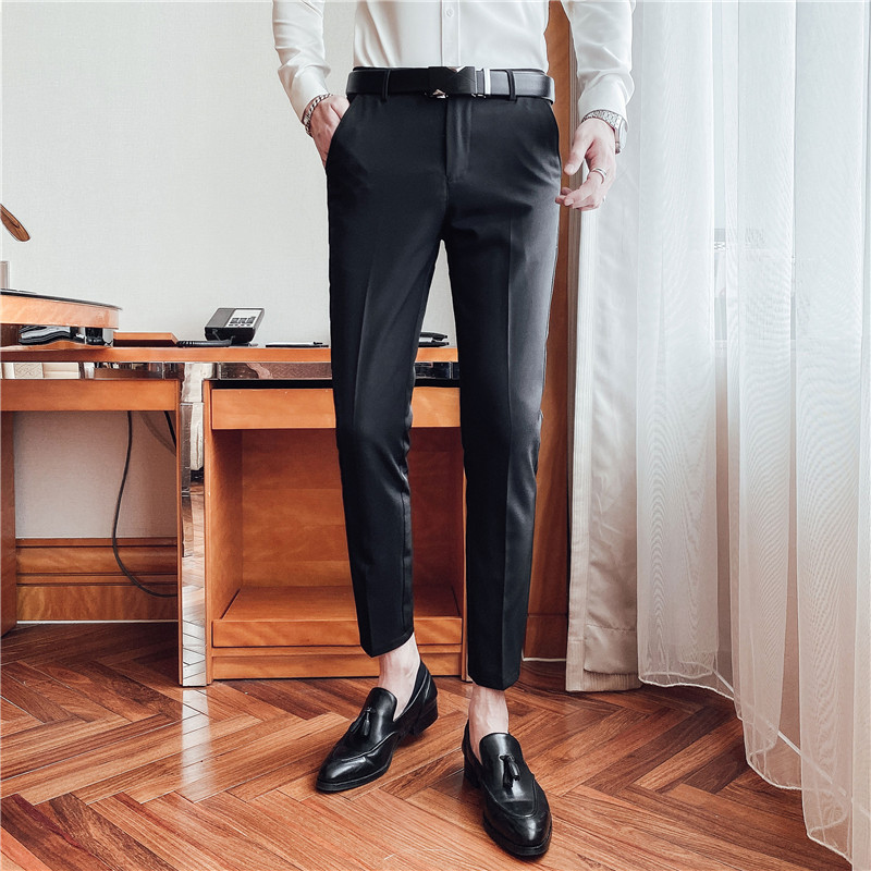 西裤男商务正装直筒修身九分裤韩版潮流休闲长裤上班通勤西装裤子