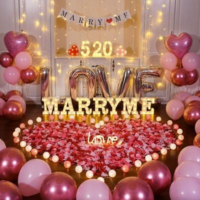 Luxury confession marry me KTV proposal props scene layout living room 520 electronic happy package decoration room.