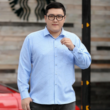 Fat man large long sleeve shirt fat man fat plus large loose middle-aged casual autumn formal men's shirt