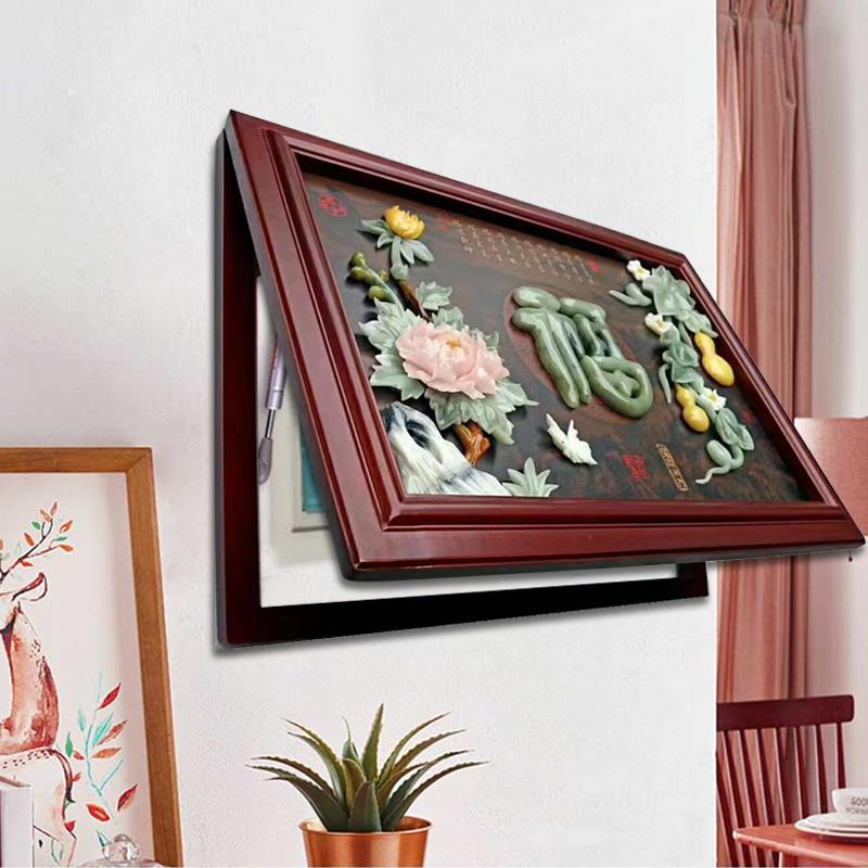 新中式玉雕电表箱遮挡箱装饰画实木现代简约玉雕画玄关装饰壁画。 Изображение 1