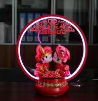 结婚可爱装饰礼物红色温馨卧室灯卡通台灯尺寸小队吻相爱恒家用。