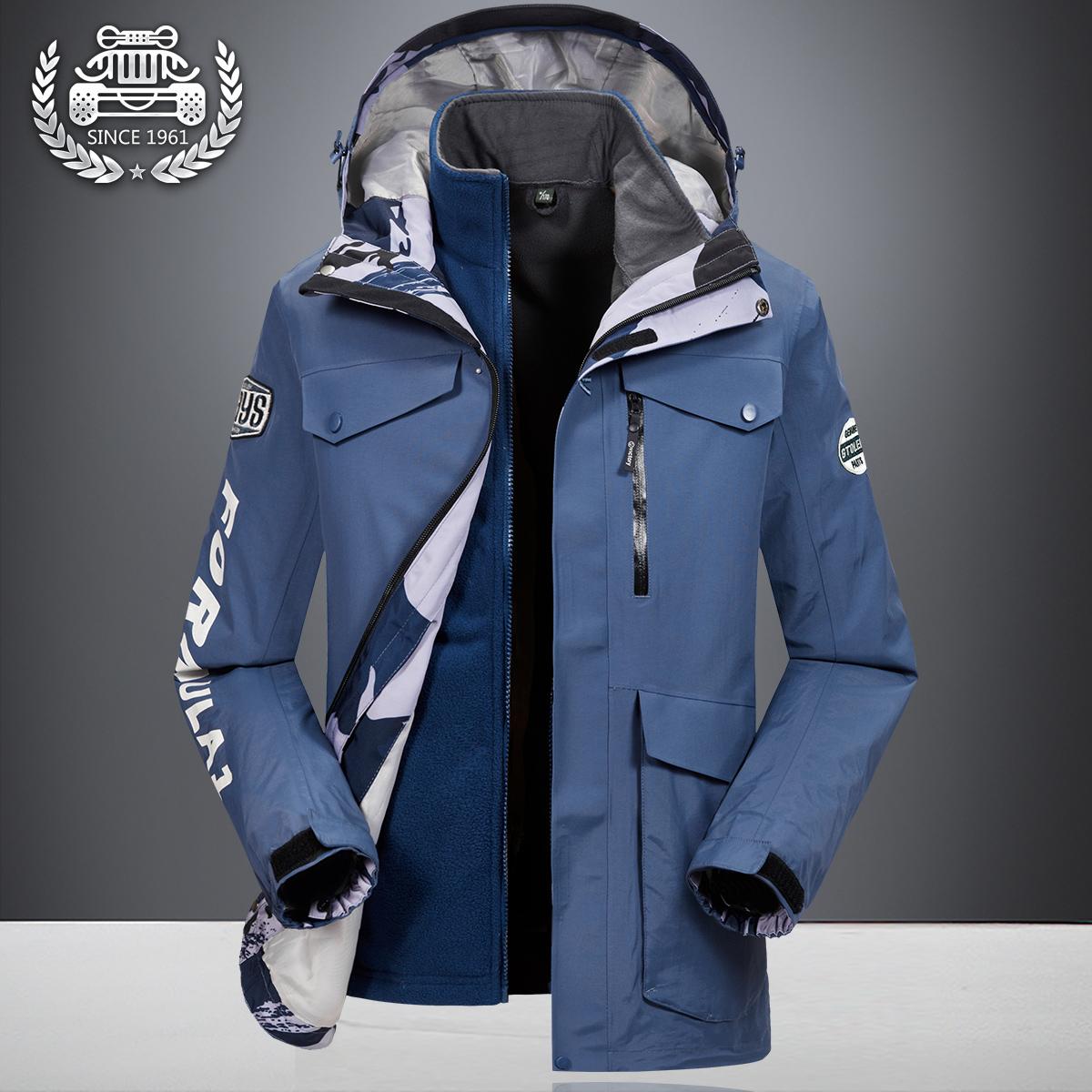 秋冬季三合一冲锋衣男士户外运动登山服外套大码宽松骑行两件套潮