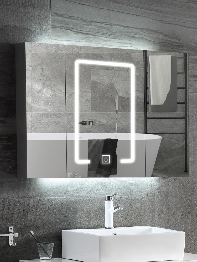 浴室镜柜挂墙式卫生间镜子带置物架智能卫浴厕所镜柜带灯单独定。