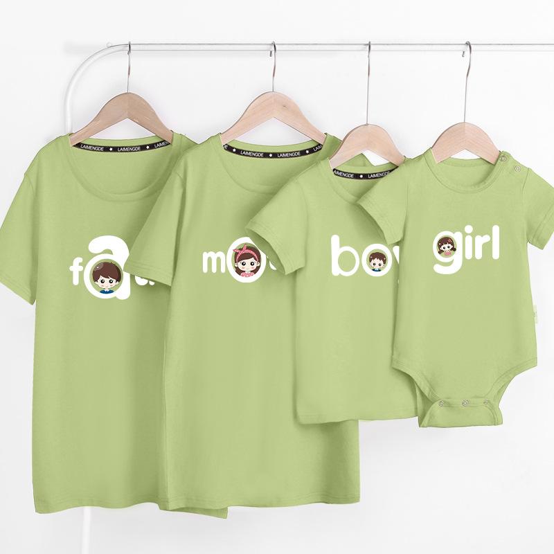 2021夏季新款纯棉亲子装潮流父子家庭装一家四口情侣短袖T恤