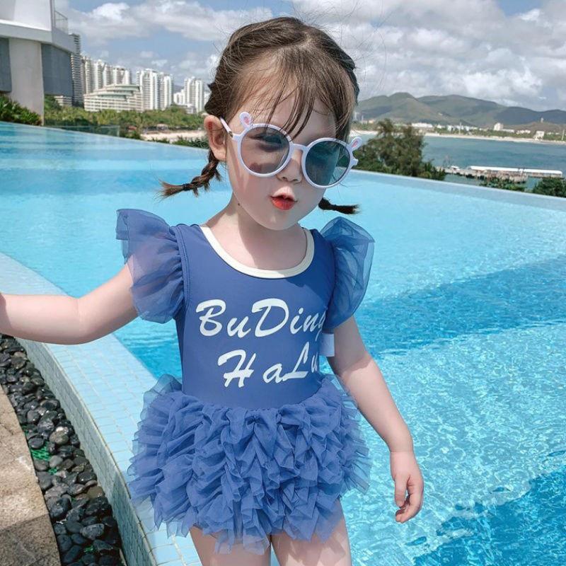 2020夏季儿童泳装中小童宝宝洋气泳衣女童连体游泳衣小女孩网纱韩