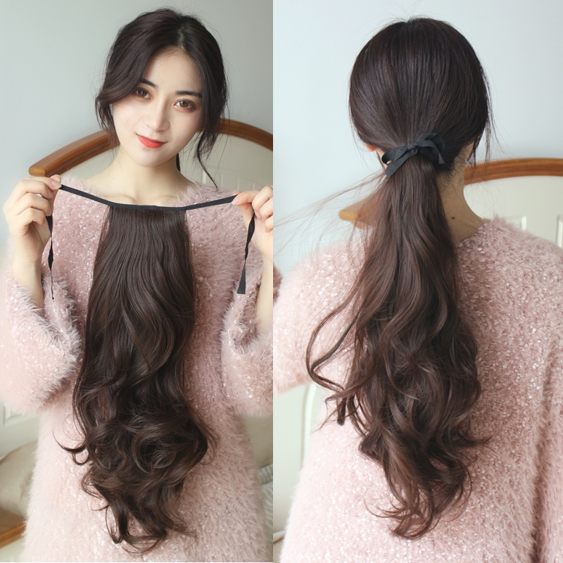 Low horsetail wig womens bandage style forced true and false horsetail big wave long hair tail braid temperament medium long curly hair piece