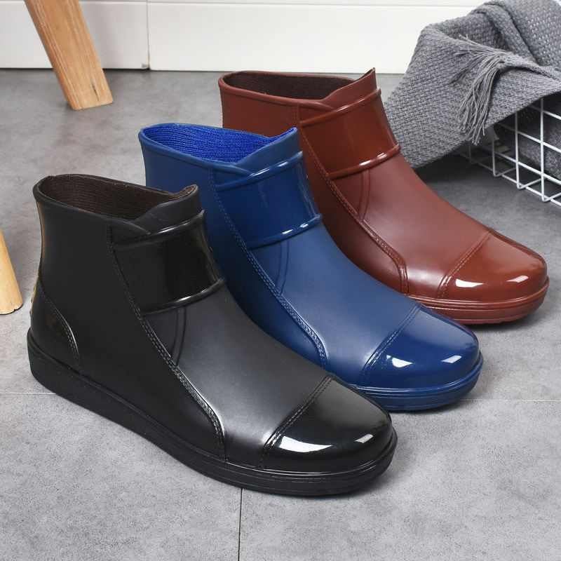 Rain boots, short rain shoes, new kitchen rubber shoes, mens mens water adult fashion, low top anti-skid shoes in summer