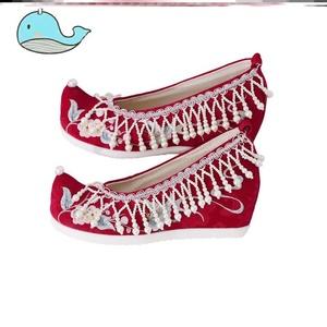 禾新娘汉服古风春季婚红色高跟内秀鞋中式服鞋结婚绣花鞋
