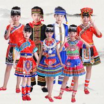 56个民族服装男女童云南苗族中国风傣族壮族黎族三月三舞蹈演出服