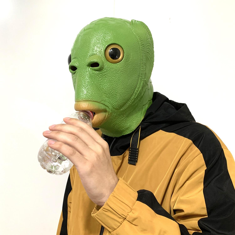 扮演角色装扮酒吧直播pk惩罚搞笑道具鱼头面具头罩吓人拍摄蹦迪