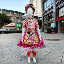 儿童新款快乐阳光羌族独唱舞蹈演出服少数民族彝族表演服订制