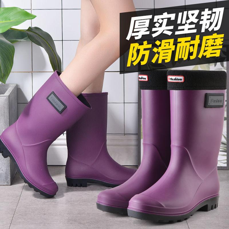 中國代購|中國批發-ibuy99|雨鞋|时尚雨鞋女士中筒保暖雨靴防滑女式水鞋高筒胶鞋成人加棉水靴套鞋