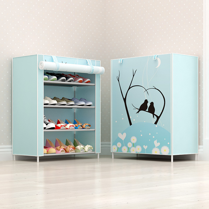 Shoe shelf household economical multi-layer stainless steel dormitory space saving dust-proof canvas shoe cabinet simple door small
